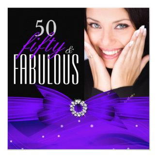 Photo Fabulous 50 Purple Diamond Birthday Party 5.25x5.25 Square Paper Invitation Card