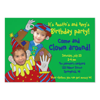 Photo Faces Clowns Birthday Party 5x7 Paper Invitation Card