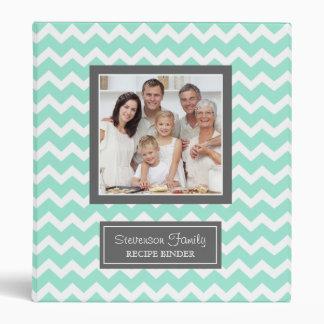 Photo Family  Recipe Binder Chevron Aqua