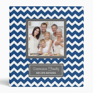 Photo Family  Recipe Binder Chevron Blue