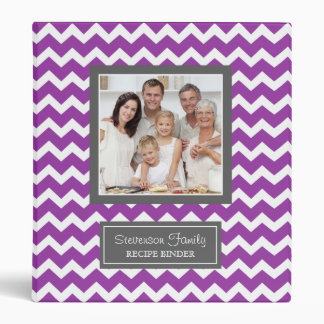 Photo Family  Recipe Binder Chevron Purple