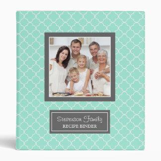 Photo Family  Recipe Binder Quatrefoil Aqua