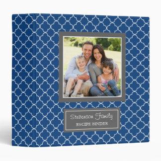 Photo Family  Recipe Binder Quatrefoil Blue