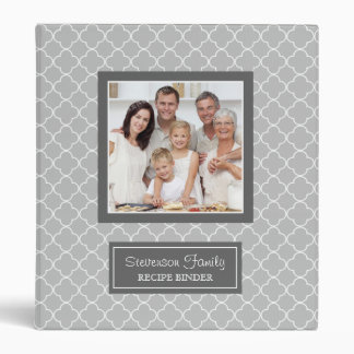 Photo Family  Recipe Binder Quatrefoil Grey