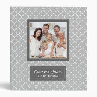 Photo Family  Recipe Binder Quatrefoil Grey