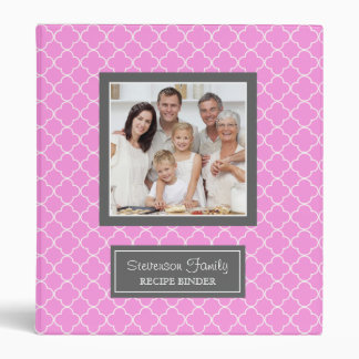 Photo Family  Recipe Binder Quatrefoil Pink