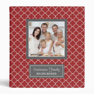 Photo Family  Recipe Binder Quatrefoil Red