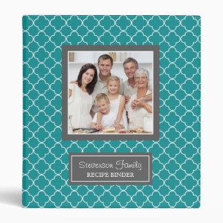 Photo Family  Recipe Binder Quatrefoil Teal