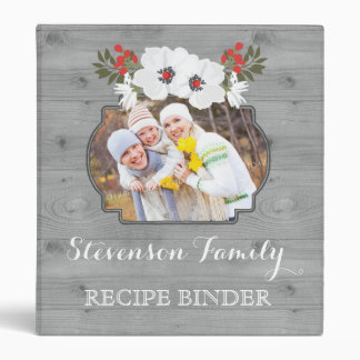 Photo Family Recipe Binder Rustic Wood Floral