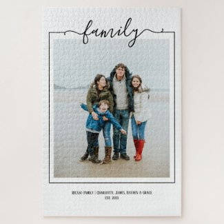 Photo family typography unique personalized DIY Jigsaw Puzzle