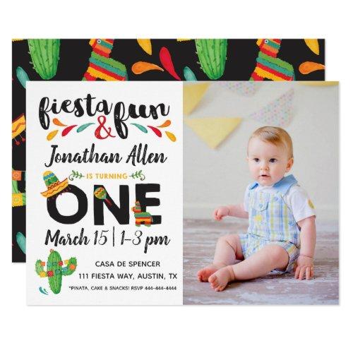 Photo Fiesta First Birthday Invitation