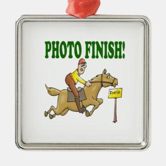 Photo Finish 2 Square Metal Christmas Ornament