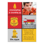 Photo Fireman Boy Firetruck Birthday Party Card