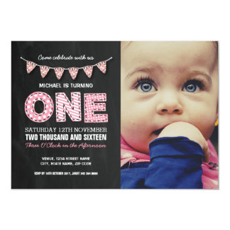 PHOTO FIRST BIRTHDAY PARTY | CHALKBOARD BUNTING CARD