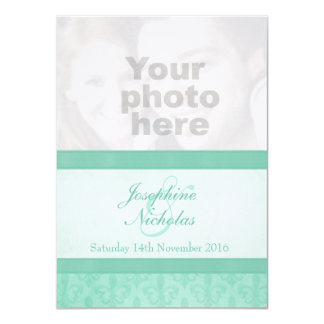 Photo Fleur De Lis style mint wedding invitation