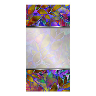 Photo Floral Abstract Stained Glass Photo Cards