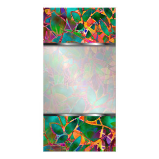 Photo Floral Abstract Stained Glass Photo Greeting Card