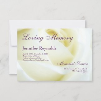 Photo Floral White Rose Funeral or Memorial Announcement