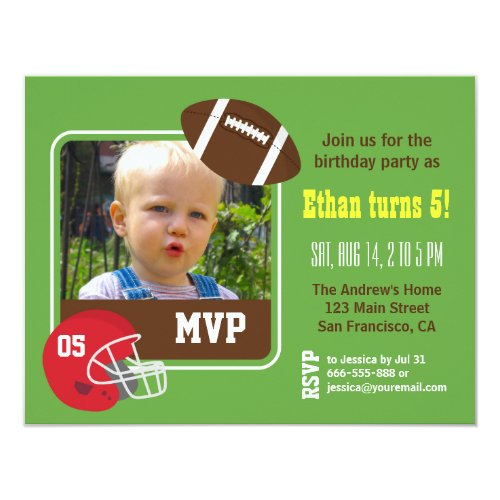 photo football kids birthday party invitations - Football Birthday Party Invitations