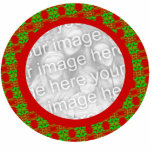 "Photo Frame Christmas Ornament - Customized<br><div class=""desc"">Add your own photo to this red and green Christmas ornament photo frame. This red and green design is a festive photo frame for your Christmas photos. It is best to use a photograph that is in a round or square shape for this design. The perfect unique gift or a...</div>"