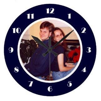 Photo Frame Navy Large Clock