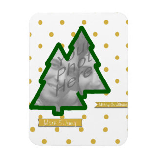 Photo Frame of Pine Tree and Golden Glitter & Dots Magnet