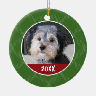 Photo Frame - Pet Baby Kid or Other - SINGLE-SIDED Double-Sided Ceramic Round Christmas Ornament