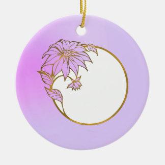 PHOTO FRAME PORTRAIT WITH Lilac  Flowery Frame Ceramic Ornament