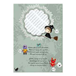 Photo Frame with Witch, Monsters, Ghost, Cat Card