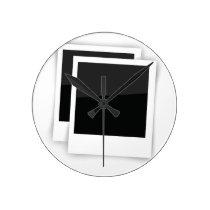 photo frames round clock