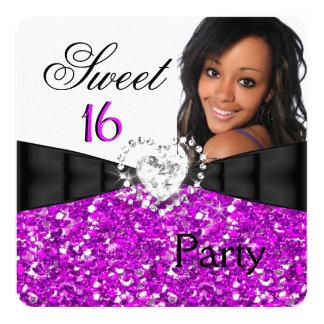 Photo Fuchsia Glitter Sweet 16 16th Birthday Party Card
