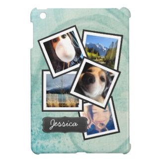 Photo Fun featuring YOUR pictures on aqua swirl iPad Mini Case