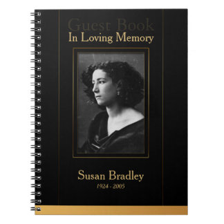 Photo Funeral GuestBook with gold piping Notebook