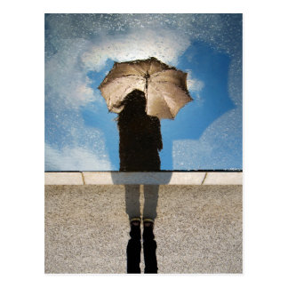 Photo: Girl Holding Umbrella, Reflected Blue Skies Postcard