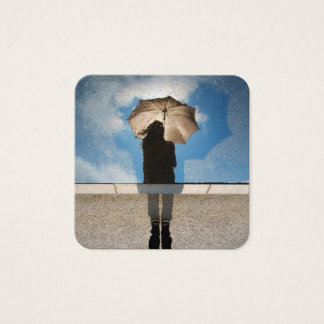 Photo: Girl Holding Umbrella, Reflected Blue Skies Square Business Card