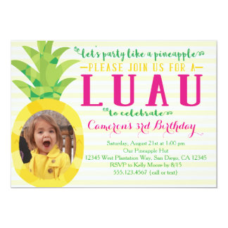 Photo Girl Luau Pineapple Birthday Invitation