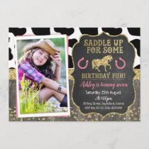 Photo Glitter Horse Birthday Invitation