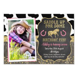 Horse birthday invitations zazzle photo glitter horse birthday invitation filmwisefo