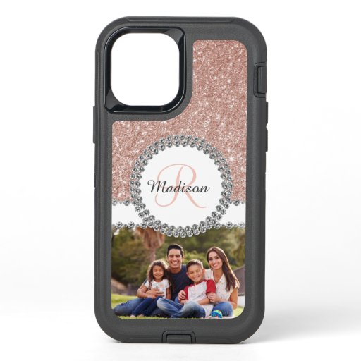 Photo Glitter Rose Gold Diamond Monogram OtterBox Defender iPhone 12 Pro Case