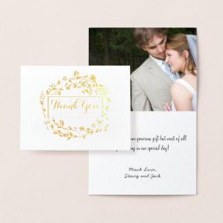 Photo Gold Foil Floral Wreath Wedding Thank You Foil Card