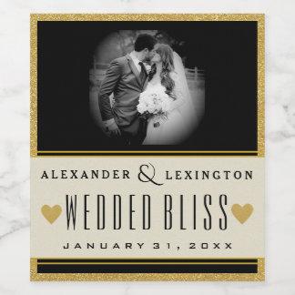 Photo Gold Glitter and Black Elegant Wedding Wine Label