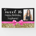 Photo Gold Glitter Pink Sweet 16 Birthday Party Banner
