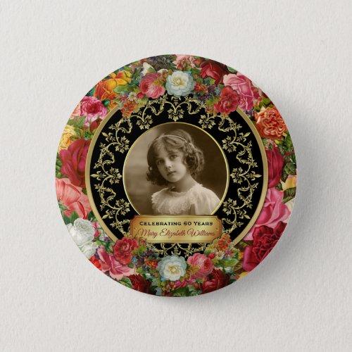 Photo Gold Gorgeous Roses Commemorative Black Onyx Button