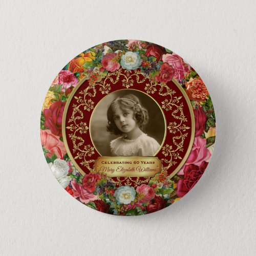 Photo Gold Gorgeous Roses Commemorative Burgundy Button