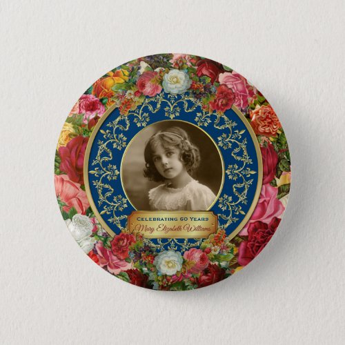 Photo Gold Gorgeous Roses Commemorative Dark Blue Button