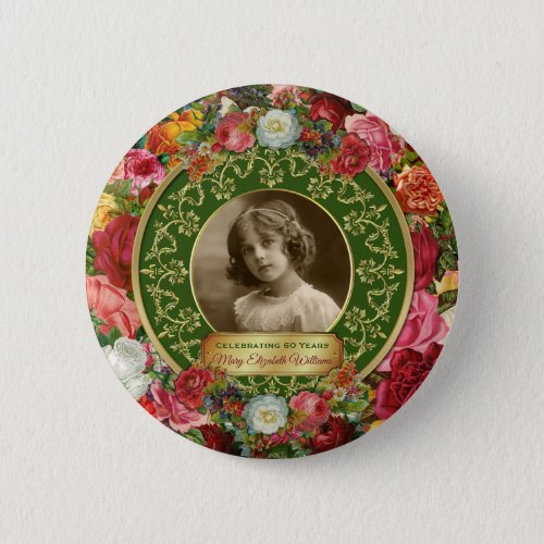 Photo Gold Gorgeous Roses Commemorative Dark Green Button