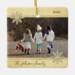 """PHOTO Gold Snow Keepsake Christmas Holiday Tree Ceramic Ornament<br><div class=""""desc"""">Keep your memories alive with these beautiful Christmas Holiday keepsake tree ornament. Personalize it with your photo. Faux gold foil and glitter with snowflakes. Custom with your family name and year. Back of ornament has option to add message , name, or other info. Perfect gift for parents, mom, dad, grandma,...</div>"""