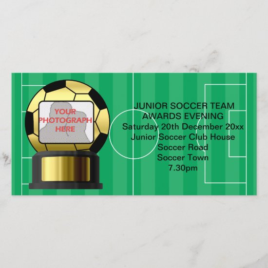 Photo Golden soccer award invitation photo card