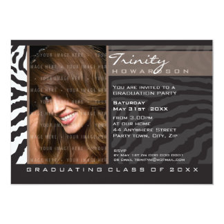 PHOTO GRAD PARTY INVITE zebra stripe