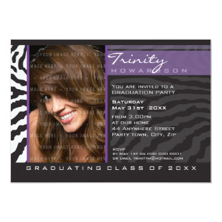 PHOTO GRAD PARTY INVITE zebra stripe purple